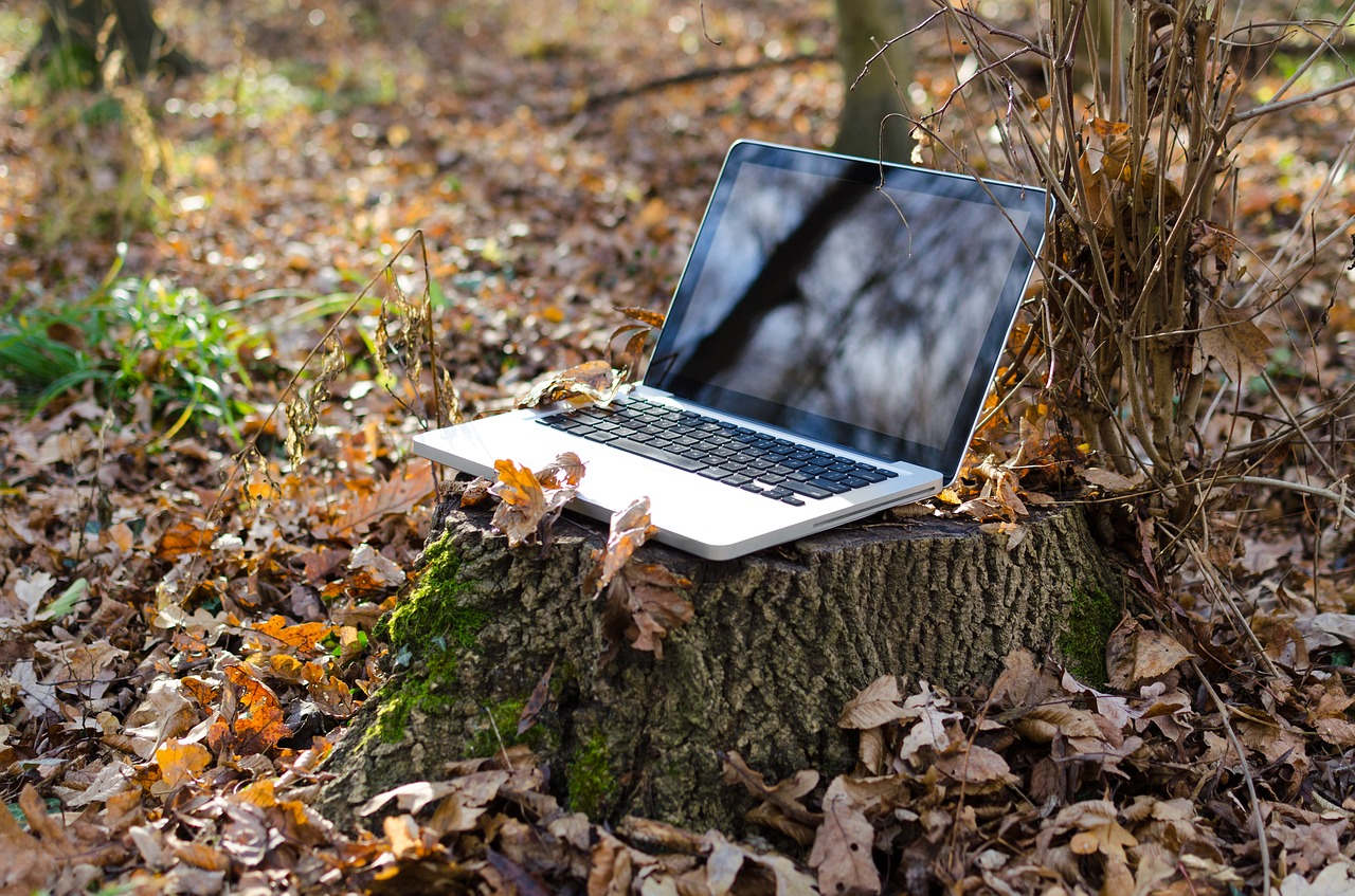 laptop outside to illustrate work from home